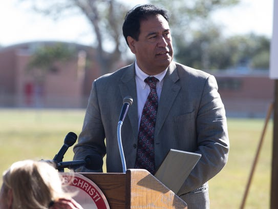 CCISD SuperIntendent Dr. Roland Hernandez speaks at the Marvin Barker Middle School groundbreaking ceremony on Tuesday, Oct. 24, 2017.