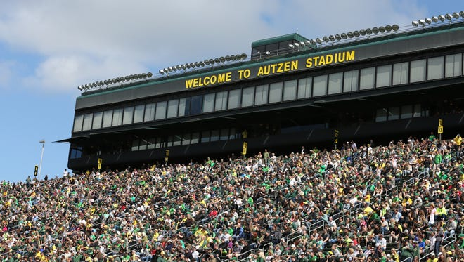 Fans cheer on Oregon during the Ducks spring game on Saturday, April 30, 2016, at Autzen Stadium in Eugene, Ore.