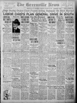 The front page of The Greenville News on Oct. 30, 1929.