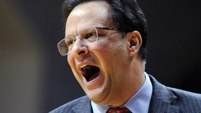 Tom Crean yells to his team last January during a game against Northwestern.