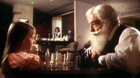 """Suzanne Davidson, left and Sebastian Cabot in a scene from 1973's """"Miracle on 34th Street"""""""