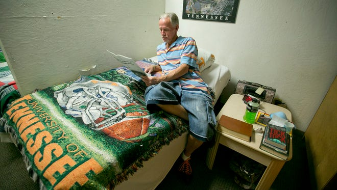 Veteran Bobby Johnston served in the Navy from 1977 to 1981 and lives in the traditional housing at the Madison Street Veterans Association in Phoenix.