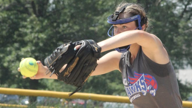 Kewanee Ballhawks pitcher MaKaela Salisbury allowed only four hits and no walks and  had seven strikeouts in the first of two victories in Eldridge, Iowa that gave the team a 19-0 record on the season.