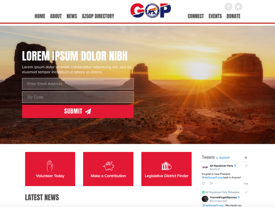 A redesigned homepage template for the Arizona GOP.