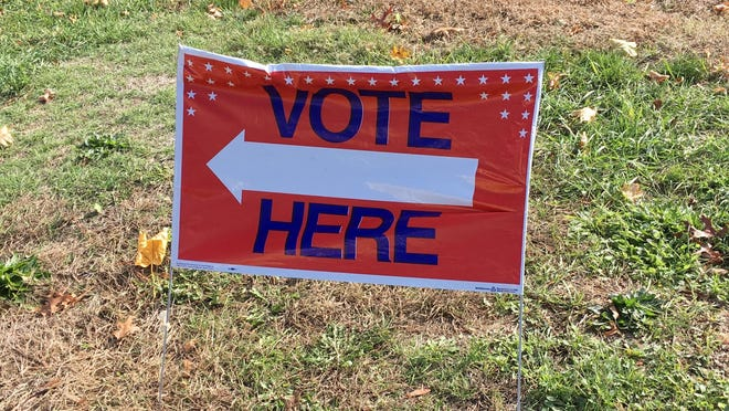 A sign directs voters at the Abbot School in Westford on Nov. 3, Election Day.