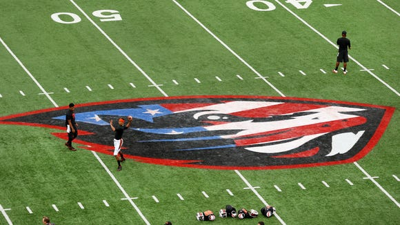 The Beavers logo at midfield is painted Red, White