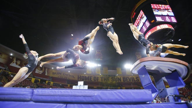 Utah's MyKayla Skinner competes during their NCAA gymnastics meet against Arizona State University Saturday, Feb. 25, 2017 in Tempe, Ariz. Skinner, who is from Gilbert, competed at the Rio Olympics. She has won the Pac-12 Gymnast of the Week five times in her freshman season. She is undefeated in the all-around and on vault and has 26 total wins (of 35 possible individual titles). Photo is a multiple exposure.