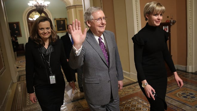 Senate Majority Leader Mitch McConnell, R-Ky., is pictured in the Capitol Feb. 9, 2018 in Washington, D.C. McConnell has promised an open process on immigration.