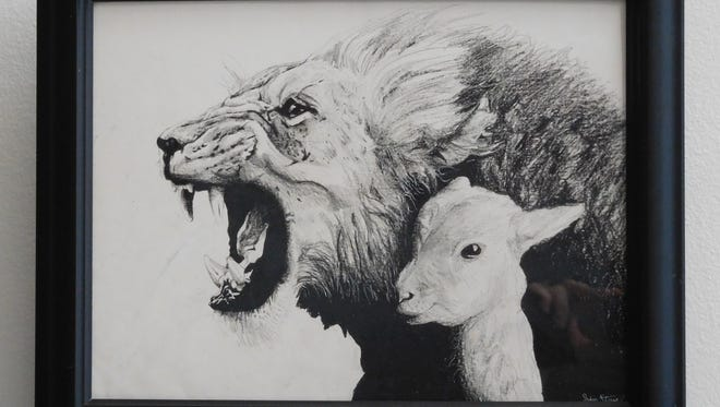The Lion and the Lamb by Jaden Story of Montford Middle School is on display at the City Hall Gallery.