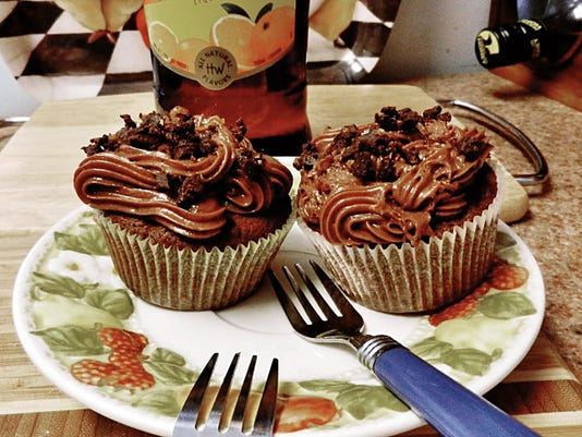 The Happy Baker's chocolate, orange, brownie-like cupcakes.