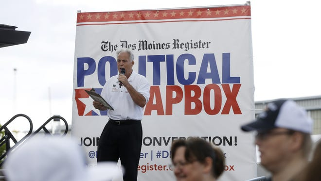 Joe Grandanette, a candidate for Iowa's Third Congressional District, speaks Saturday, Aug. 20, 2016, during the Des Moines Register Political Soapbox at the Iowa State Fair in Des Moines.