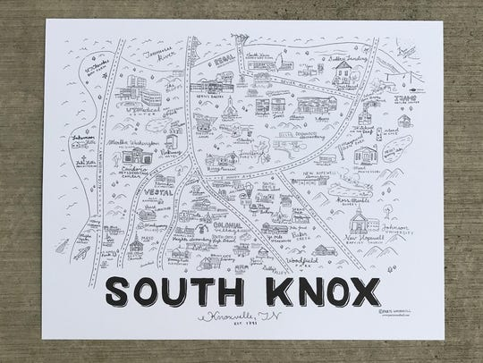 A close-up of the South Knoxville map created by Paris