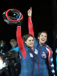 Bree Schaaf, right, finished fifth in the bobsled at the 2010 Olympics in Vancouver.