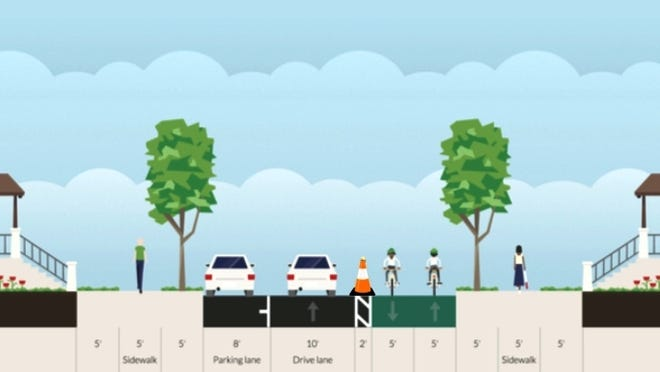 "An illustrative cross-section of the proposed one-day ""pop-up"" bicycle track on a portion of South Union Street in Burlington. Motorists will ply a single, northbound lane to King Street."