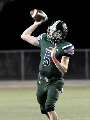 South Oldham Quarterback Drew Zaubi (5) attempts a pass during the first half of their game against Bullitt East, Friday, Oct. 6, 2017, in Crestwood, Kentucky.