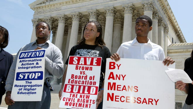 Protesters at the Supreme Court in 2003.
