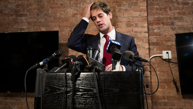 Milo Yiannopoulos at his press conference on Tuesday in New York City.