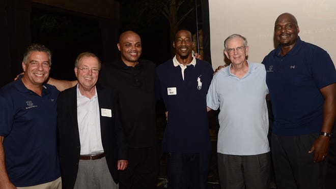 (from left to right) Bruce Pearl Cliff Ellis, Charles Barkley, Chris Porter, Sonny Smith and Chuck Person take picture during Friday's Auburn Basketball Lettermen Reunion.