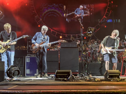 Trey Anastasio, from left, Phil Lesh, Bob Weir
