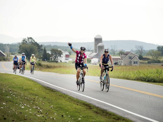 Cyclists ride in the 10th Annual Kelly Brush Century Ride powered by VBT Bicycling and Walking Vacations on Sept. 12 in Middlebury.
