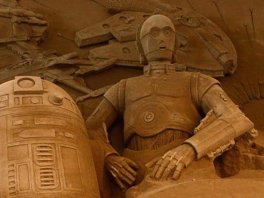 Artists Work On Star Wars Sand Sculpture In Japan