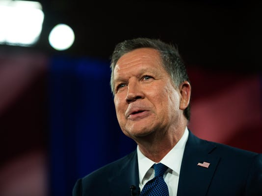 GOP Presidential Candidate John Kasich Participates In Television Town Hall Meeting
