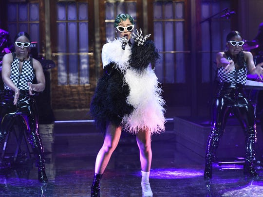 """Rapper Cardi B performed a medley of songs on """"Saturday"""
