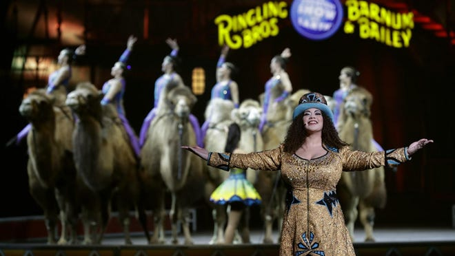 """Ringling Bros. and Barnum & Bailey Ringmaster Kristen Michelle Wilson performs Saturday in Orlando, Fla. """"The Greatest Show on Earth"""" will end in May after a 146-year run."""
