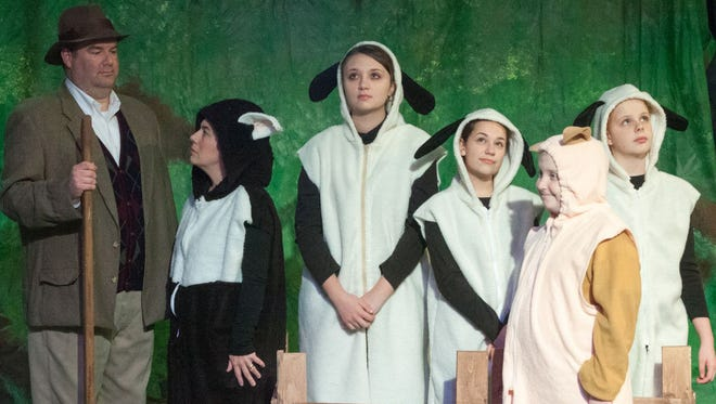 """Actors rehearse as the farmer, dog, sheep and a pig who thinks he is a dog in """"Babe the Sheep Pig"""" at DreamWrights Center for Community Arts."""