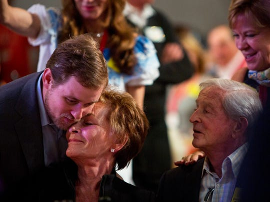 """Judy Sheindlin, better known as Judge Judy, hugs Casey Barber after winning Lot 55 for $200,000 during the 2017 """"Bright Sunshiny Day"""" Auction at the Naples Winter Wine Festival on Saturday, January 28,  2017 at the The Ritz-Carlton Golf Resort in North Naples. Lot 55, titled Big Ben and Bagpipes, offers a trip to London and Edinburgh."""