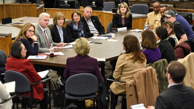 Congressional members meet with local officials and Electrolux employees Saturday, Feb. 10, at St. Cloud City Hall.