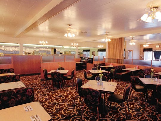 The dining room at Gold 'N Silver Inn just after the 2000 renovation. The arrangement of booths and tables remains to this day.
