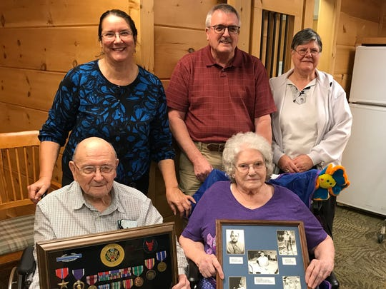 The Williams family gathered Friday at the Madison Health & Rehabilitation home in Mars Hill to talk about their parents, Ormand and Daphne Williams, who've been married for 70 years. On the back row are children, Annette Potts, Carvel Williams and Millaine Milhaupt.