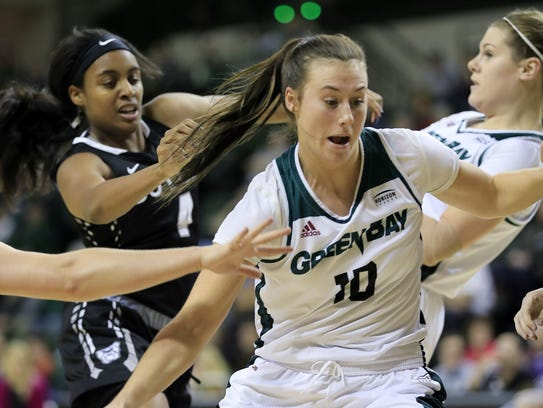 UWGB forward Mehryn Kraker (10) was named the Horizon