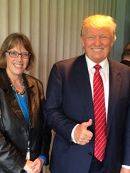 Kathie Obradovich and candidate Donald Trump after