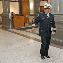Cincinnati Police Department Chief Jeffrey Blackwell arrives at Cincinnati City Hall for a bi-weekly, standing meeting with City Manager Harry Black June 1. Black on Monday asked Blackwell to present him with a 90-day violence reduction plan by the end of the week.