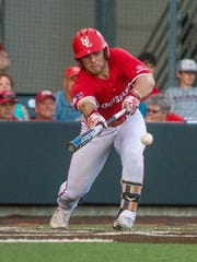 Zach LaFleur puts down one of UL's five sac bunts in its 5-1 win over Coastal Carolina on Saturday night.