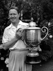 Byron Nelson, shown after winning the 1939 PGA Championship, won the Spring Lake Pro-Member in 1945, which he always considered his 12th straight win.