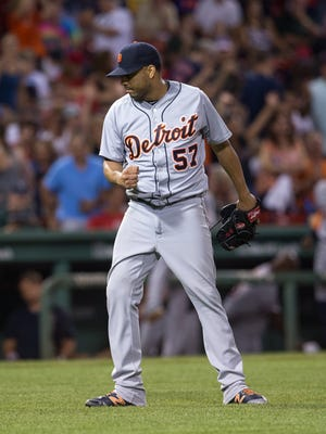 Tigers pitcher Francisco Rodriguez celebrates a 4-2 victory against the Red Sox at Fenway Park on Monday.