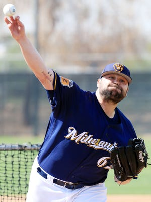 Brewers non-roster invitee Joba Chamberlain throws live batting practice Wednesday at Maryvale Baseball Park in Phoenix.
