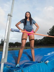 Tytavia Hardy poses on the high jump at Booker T. Washington
