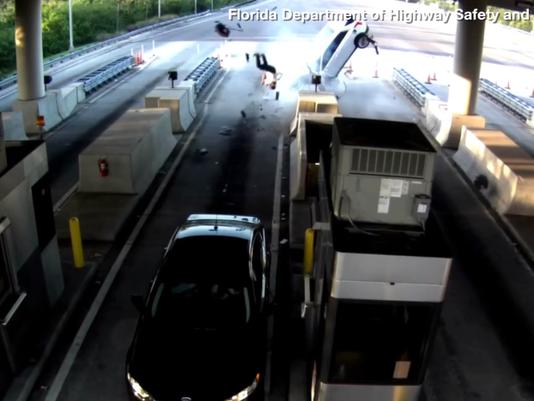 Florida Car Accident: Florida Toll Plaza: Violent Car Crash Caught On Graphic Video