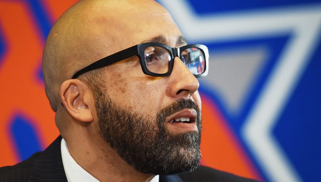 Knicks new head coach David Fizdale listens to a reporter during a press conference at Madison Square Garden in New York  on 05/08/18.