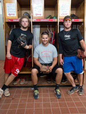 Tanner Halstead, left, J.T. Granat, center, and Avery Geyer were teammates last year at Northwest Florida State. Now, Halstead and Geyer are together at South Alabama and Granat has become top pitcher at UWF.