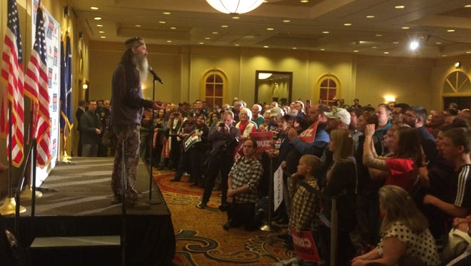 Duck Dynasty star Phil Robertson at the Greenville Marriott Friday night during a rally for Ted Cruz.