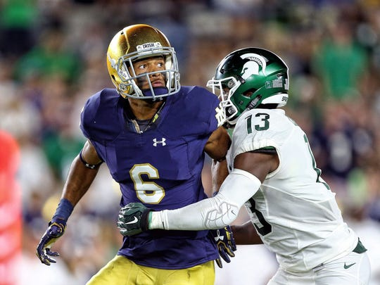 Brian Kelly says he wants more big plays out of wide receiver Equanimeous St. Brown (6).