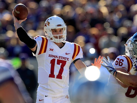 Iowa State quarterback Kyle Kempt (17) passes to a