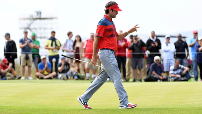 Bubba Watson walks on the fifth green during Round 2 on Friday.