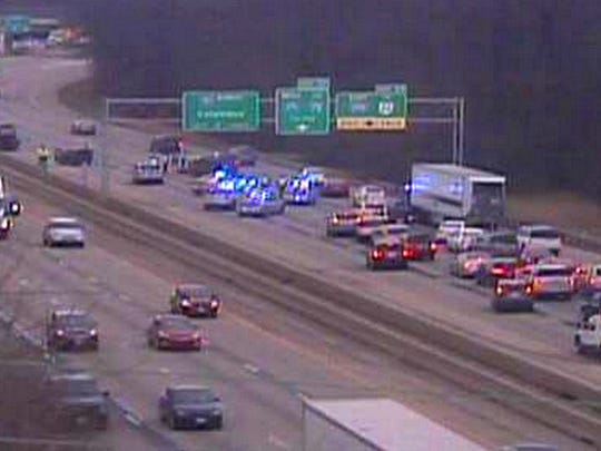 A wreck blocked traffic on Interstate 71 near Pfeiffer Road on Friday.