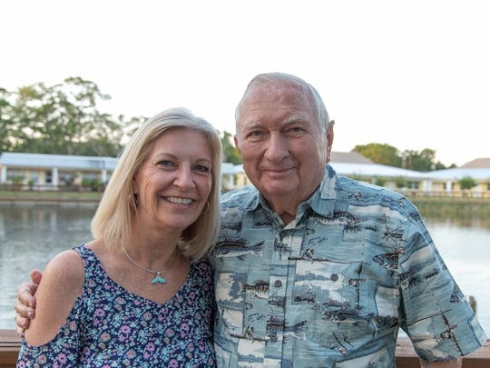 """Cathy Dritenbas and her father, Charlie Horn, a long time Rotarian, at St. Francis Manor for its """"All American Country BBQ Bash"""" on April 28. Dritenbas' son and late husband Paul's business designed the new buildings at St. Francis Manor."""
